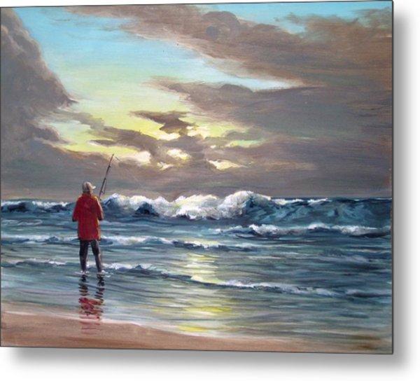 Sunset Fishing Off Newport Metal Print