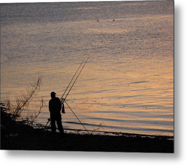 Sunset Fishing On The Loch Metal Print