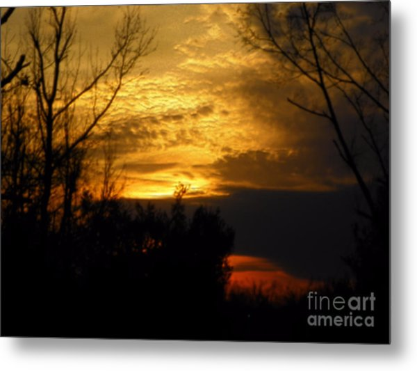 Sunset From Farm Metal Print