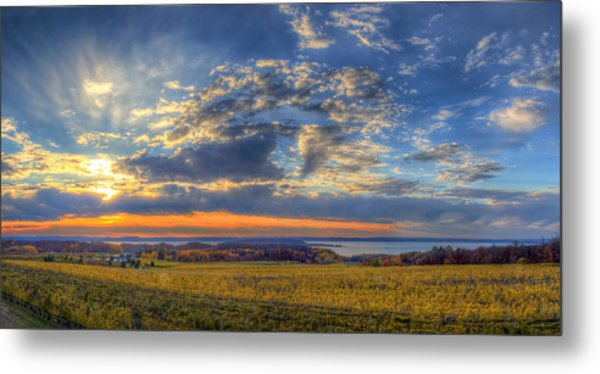 Sunset From Old Mission Metal Print