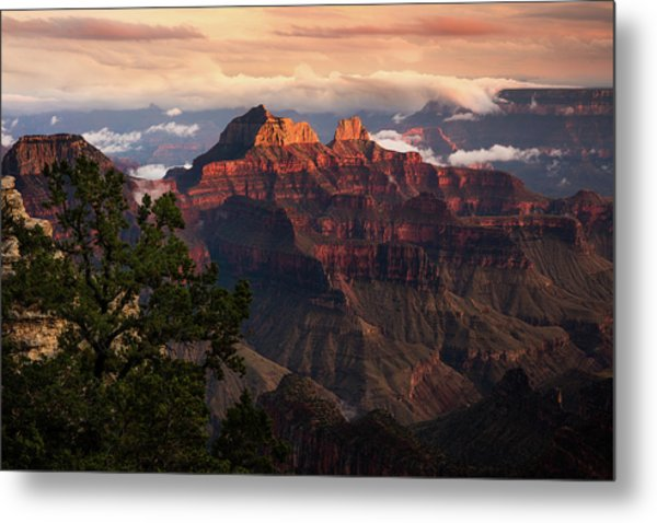 Sunset From The Grand Canyon Lodge Metal Print by Adam Schallau