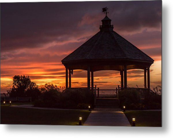 Sunset Gazebo Lavallette New Jersey Metal Print