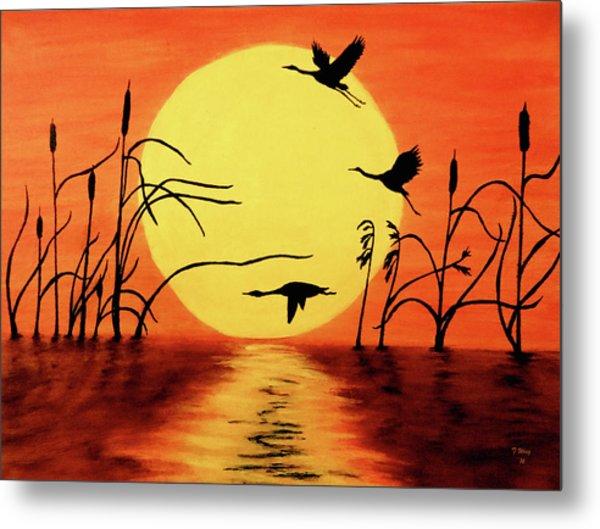 Sunset Geese Metal Print