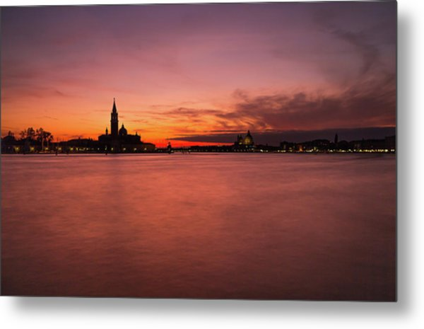 Sunset Over The Grand Canal, Venice. Metal Print