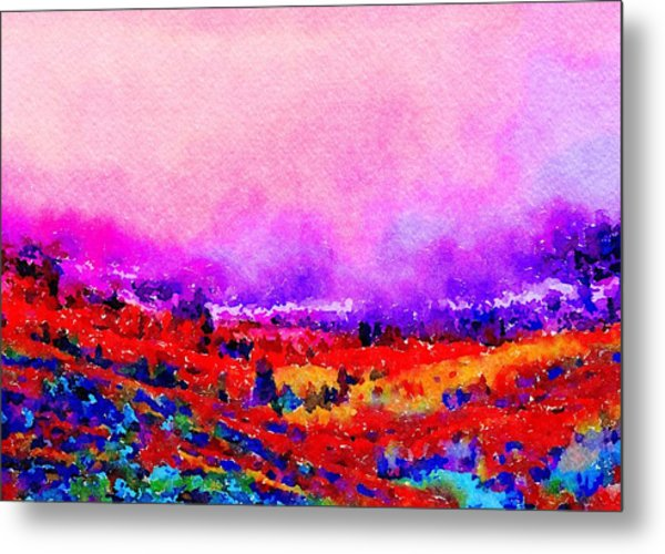 Metal Print featuring the painting Sunset Hills by Angela Treat Lyon