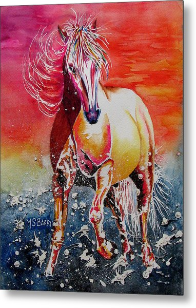 Sunset Horse Metal Print by Maria Barry