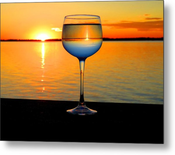 Sunset In A Glass Metal Print