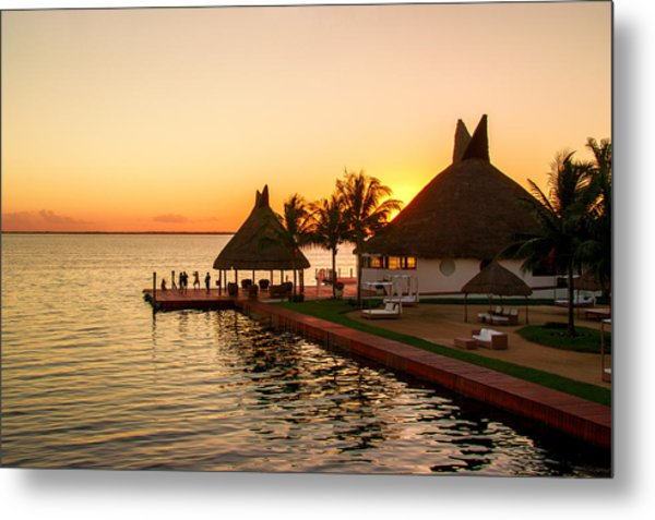 Sunset In Cancun Metal Print