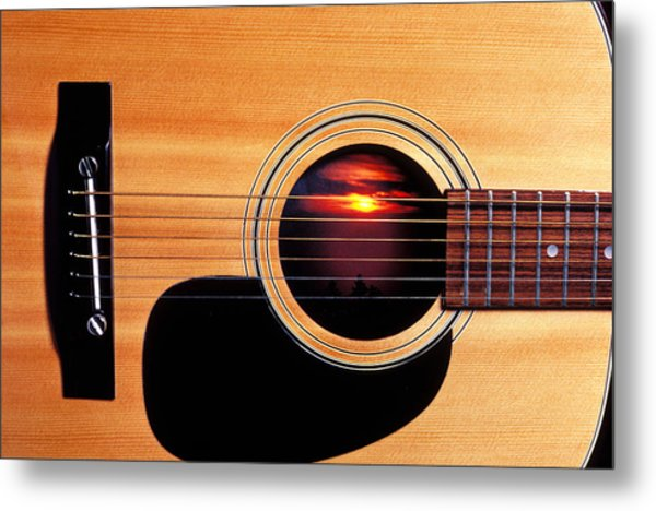 Sunset In Guitar Metal Print