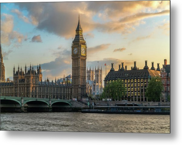 Sunset In London Westminster Metal Print