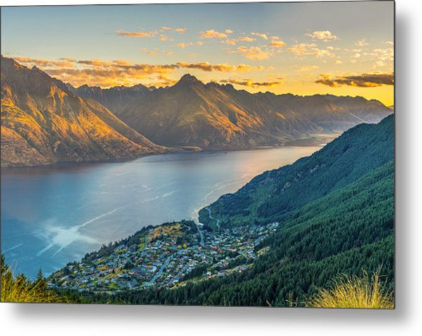 Sunset In New Zealand Metal Print