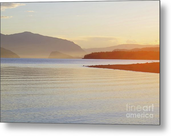 Sunset In The Mist Metal Print