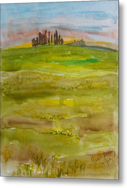 Sunset In Tuscany Metal Print by Janet Butler