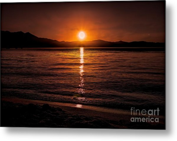Sunset Lake 810pm Textured Metal Print