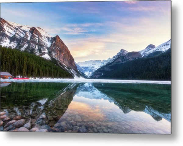 Sunset Lake Louise Metal Print