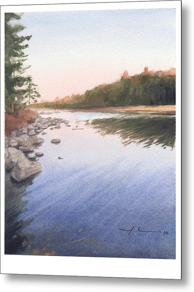 Sunset Lake Watercolor Painting Metal Print by Mike Theuer