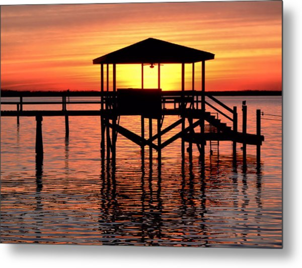Sunset Lit Pier Metal Print