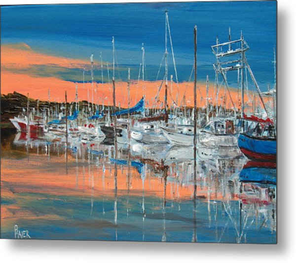 Sunset Marina Metal Print by Pete Maier