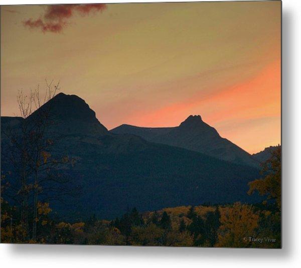 Sunset Mountain Silhouette Metal Print