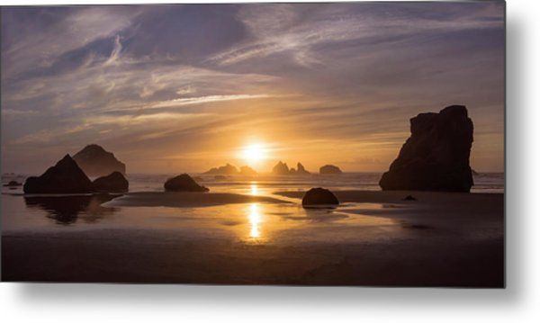 Sunset On Bandon Beach Metal Print