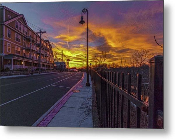 Sunset On Eliot St Milton Ma Metal Print