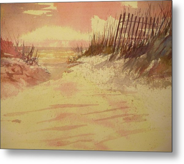 Sunset On  Florida Beach Metal Print by Walt Maes