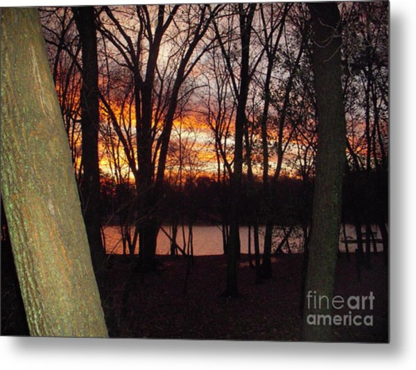 Sunset On Fox River Metal Print by Deborah Finley