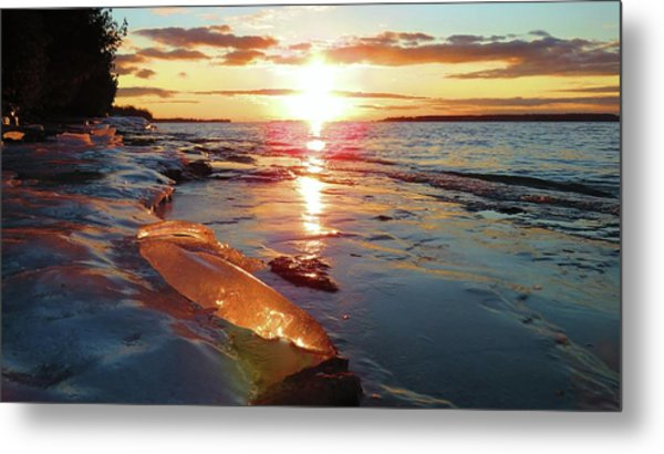 Sunset On Ice Metal Print