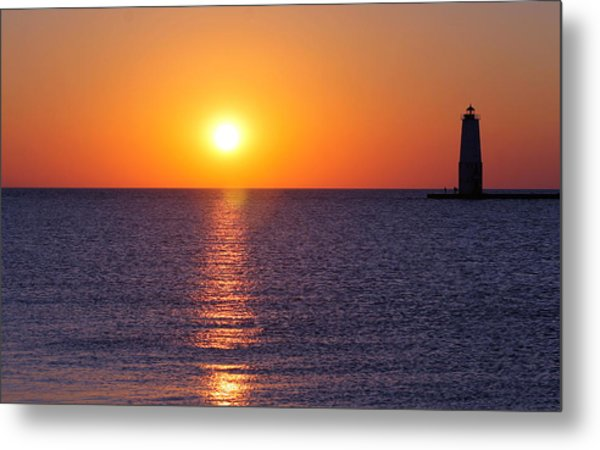 Sunset On Lake Michigan Metal Print