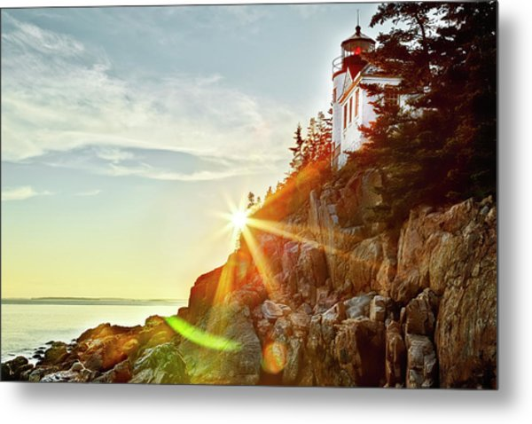 Ocean Sunset On Maine's Bass Harbor Lighthouse Metal Print