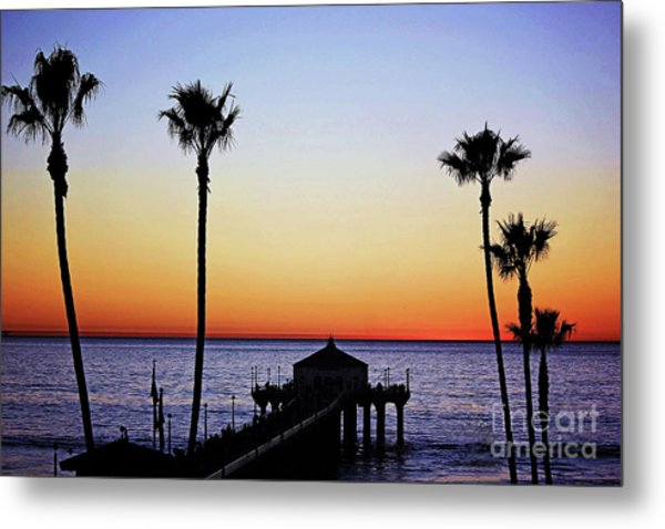 Sunset On Manhattan Beach Pier Metal Print