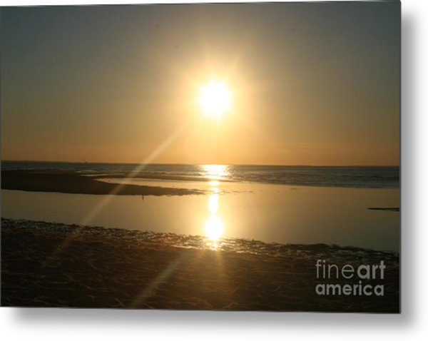 Sunset On Mayflower Beach Metal Print by Amy Holmes