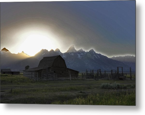 Sunset On Mormon Row  Wy Metal Print by Vijay Sharon Govender