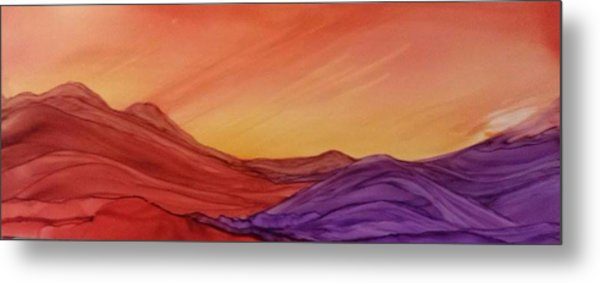 Sunset On Red And Purple Hills Metal Print
