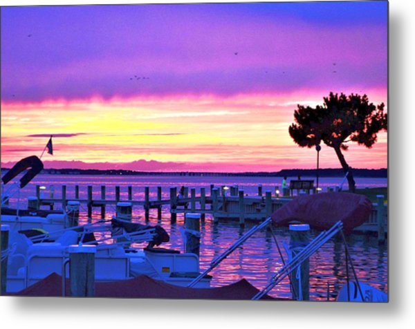 Sunset On The Docks Metal Print