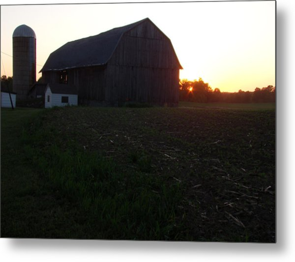 Sunset On The Farm Metal Print by Todd Zabel
