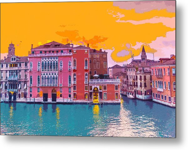 Sunset On The Grand Canal Venice Metal Print