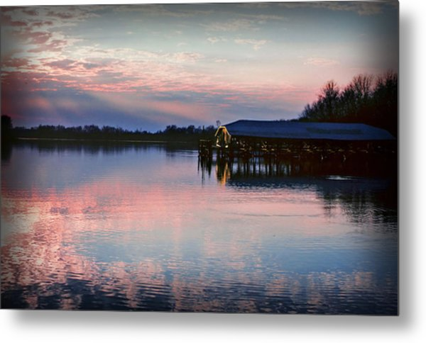 Sunset On The Lake Metal Print by Dave Chafin