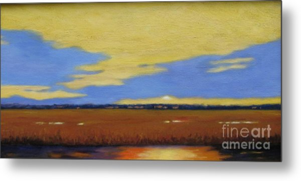 Sunset On The Marsh Metal Print by Laura Roberts