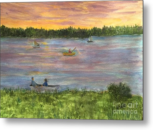 Sunset On The Merrimac River Metal Print
