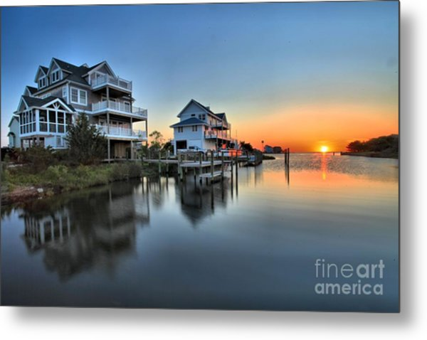 Sunset On The Obx Sound Metal Print