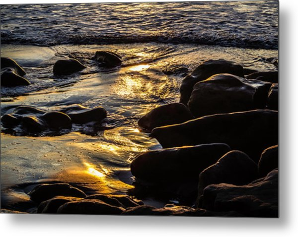 Sunset On The Rocks Metal Print