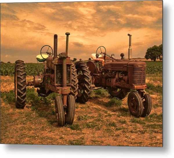 Sunset On The Tractors Metal Print