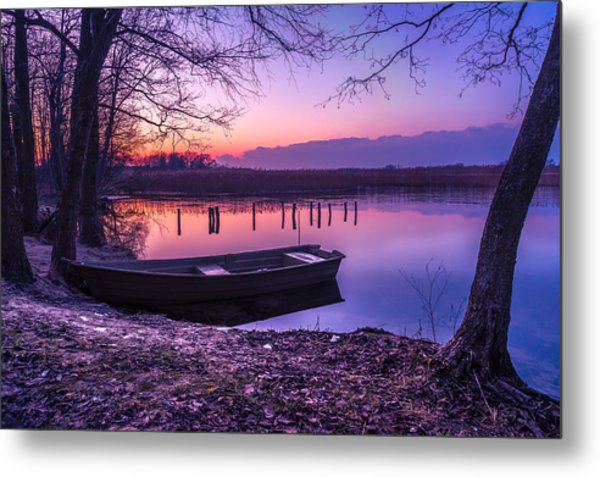 Sunset On The White Lake Metal Print