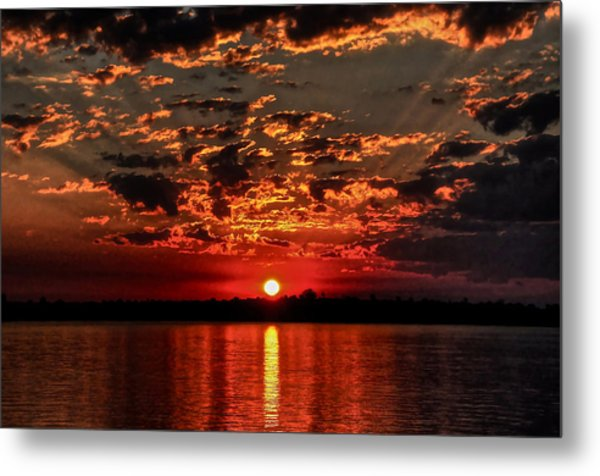 Sunset On The Zambezi Metal Print