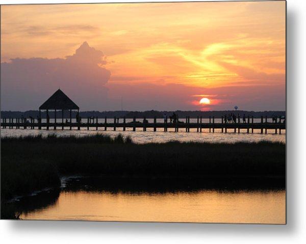 Sunset On Wetlands Walkway Metal Print
