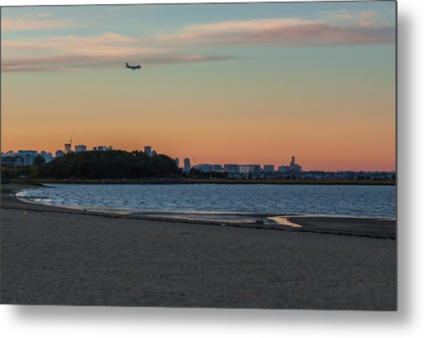 Sunset On Wollaston Beach In Quincy Massachusetts Metal Print