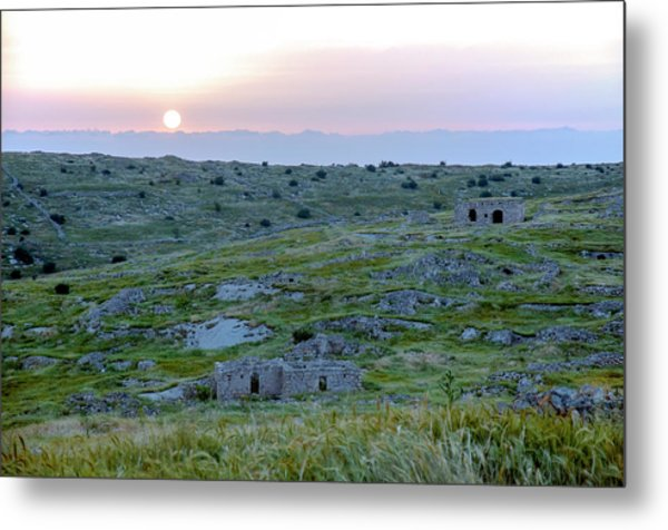 Sunset Over A 2000 Years Old Village Metal Print
