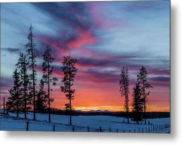 Sunset Over A Farmers Field, Cowboy Trail, Alberta, Canada Metal Print