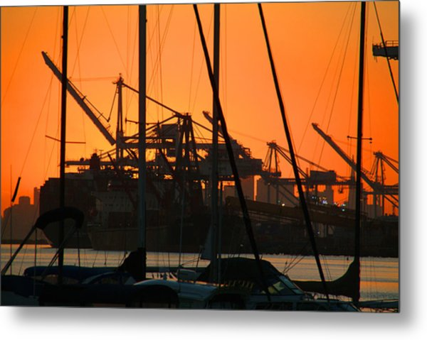 Sunset Over Alameda Harbor Metal Print by Charles  Ridgway